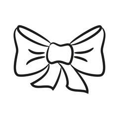 Cartoon bow icon on the white background for your design.
