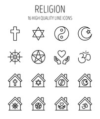 Set of religion icons in modern thin line style.