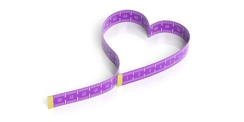 Heart shaped measure tape. 3d illustration