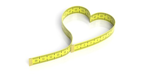 Heart shaped measure tape. 3d illustration