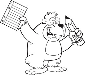 Black and white illustration of a gorilla holding a paper and pencil.