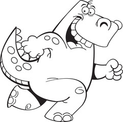 Black and white illustration of a dinosaur running.