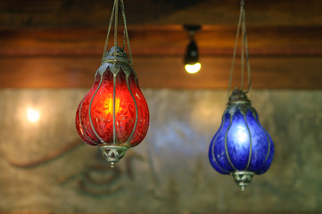 Vintage art deco ceiling lamp red and blue