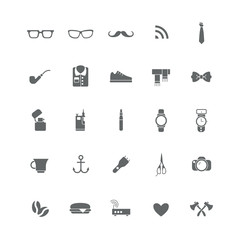 Set of black icons with different hipster things (clothing, electronics, accessories).