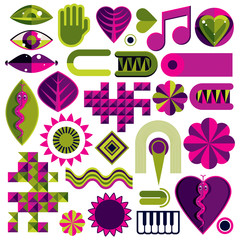 Set of vector abstract art symbols, different modern style graph