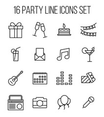 Set of party icons in modern thin line style.
