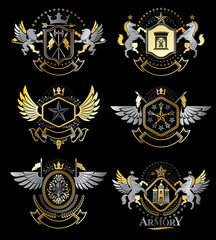Set of vector vintage emblems created with decorative elements l