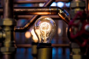 Idea - Lit up bulb between pipes