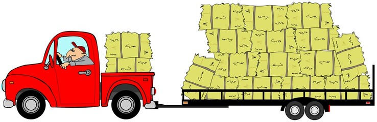 Illustration of a man driving a truck pulling a trailer loaded with bales of hay.
