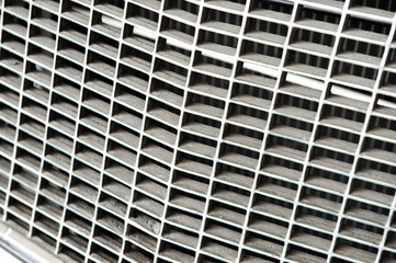 Vintage metal car grill close up,selective focus