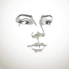 Artistic hand-drawn vector image, black and white portrait of de