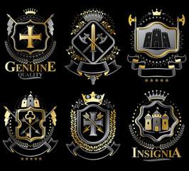 Set of vector retro vintage insignias created with design elemen