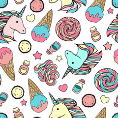 Seamless pattern with unicorns and magic items.