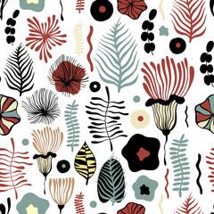Vector flower pattern. Seamless botanic texture.