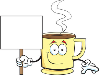 Cartoon illustration of a coffee cup holding a sign.