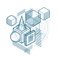 Isometric abstract background with linear dimensional shapes, ve