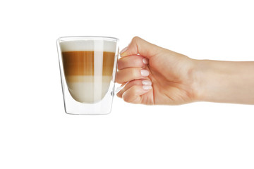 Female hand holding cup of fresh coffee on white background