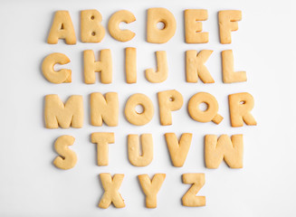 Cookie alphabet on white background