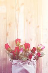 Beautiful valentines day rose, vintage filter image