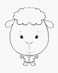Coloring, small, funny lamb