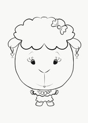 Coloring little elegant lamb