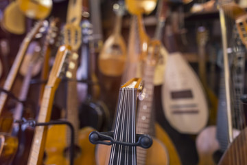 musical instruments shop with blurred background