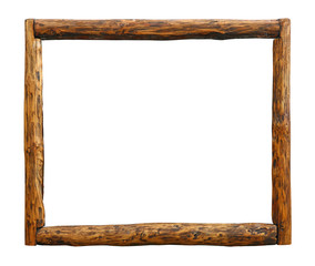 Old vintage grunge wooden log border frame