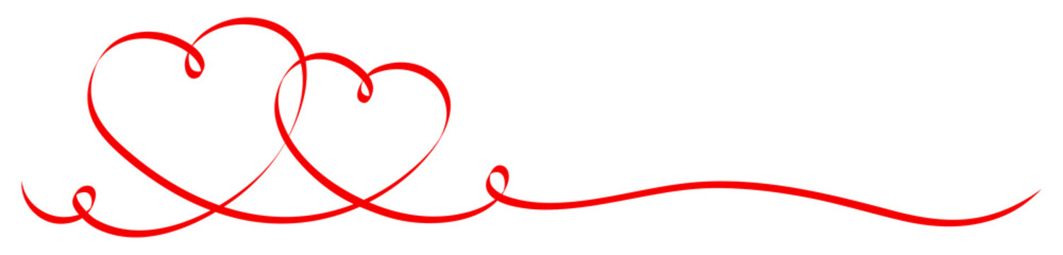 2 Connected Red Calligraphy Hearts Ribbon Banner