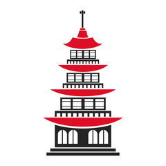 pagoda traditional building japanese architecture vector illustration