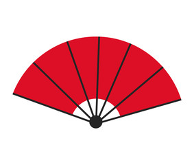 red fan decorative ornament japanese vector illustration
