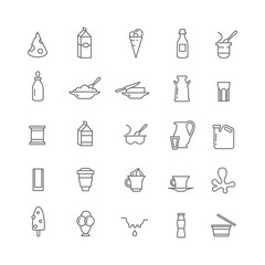 Icons with dairy products.
