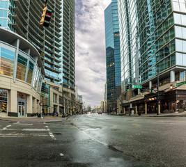 Modern city scene from street level