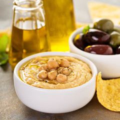 Olive oil homemade hummus
