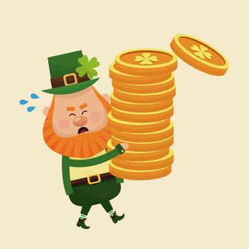 leprechaun carrying pile coins gold vector illustration eps 10