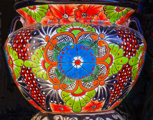 Colorful Ceramic Orange Flowers Pot Dolores Hidalgo Mexico