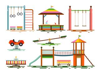 Vector Kids Playground Flat Design Icons