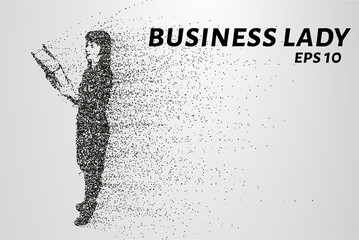Business woman of the particles. Silhouette business woman consists of circles and points. Vector illustration