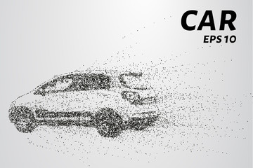 Car from the particles. The silhouette of the car consists of circles and points. Vector illustration
