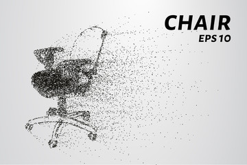 The chair of the particle. Silhouette chair on wheels consists of circles and points. Vector illustration