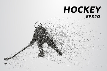 Hockey from the particles. Silhouette of a hockey player consists of circles and points. Vector illustration