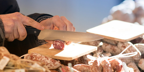 Street market food, fresh meat and sausages