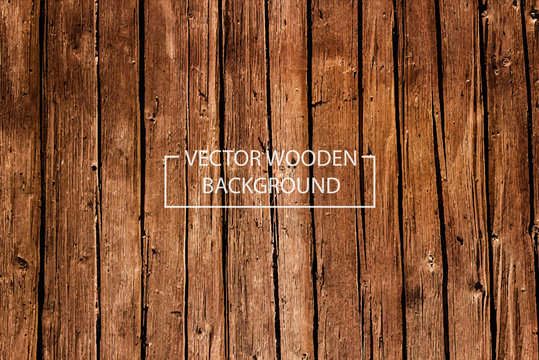 Vector Wooden Background. Brown Wood Planks.