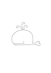 Whale free hand drawing vector