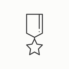 Gold medal award with ribbon. Winner line thin icon. First place leadership champion achievement. 1st place. Vector isolated illustration. Linear flat design. Success symbols. Object. Sign. Star