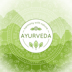 Vector Ayurveda illustration with mountains landscape, ethnic patterns and sample text in green colors for use as a template of banner, backdrop or poster for ayurveda medicine center or product.