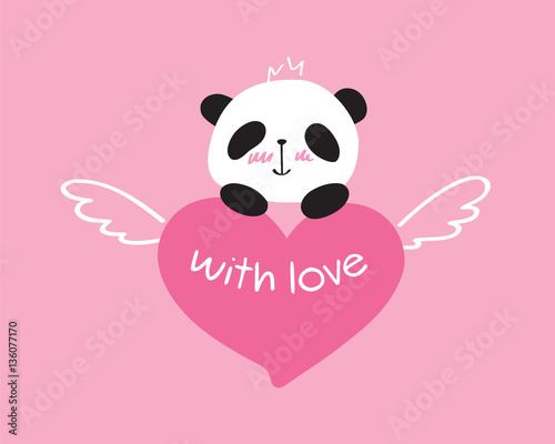 Happy Birthday Design Vector ~ Greeting card with little cute panda and heart. happy birthday