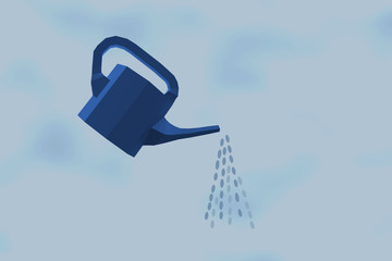 Irrigation Concept : watering can on blue clouded background.