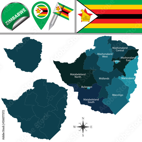 Map of Zimbabwe with Named Provinces\