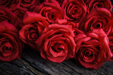 Red Roses on old wooden board, Valentines Day