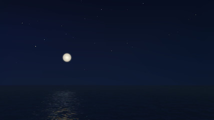 Vector Night landscape the sea with full moon